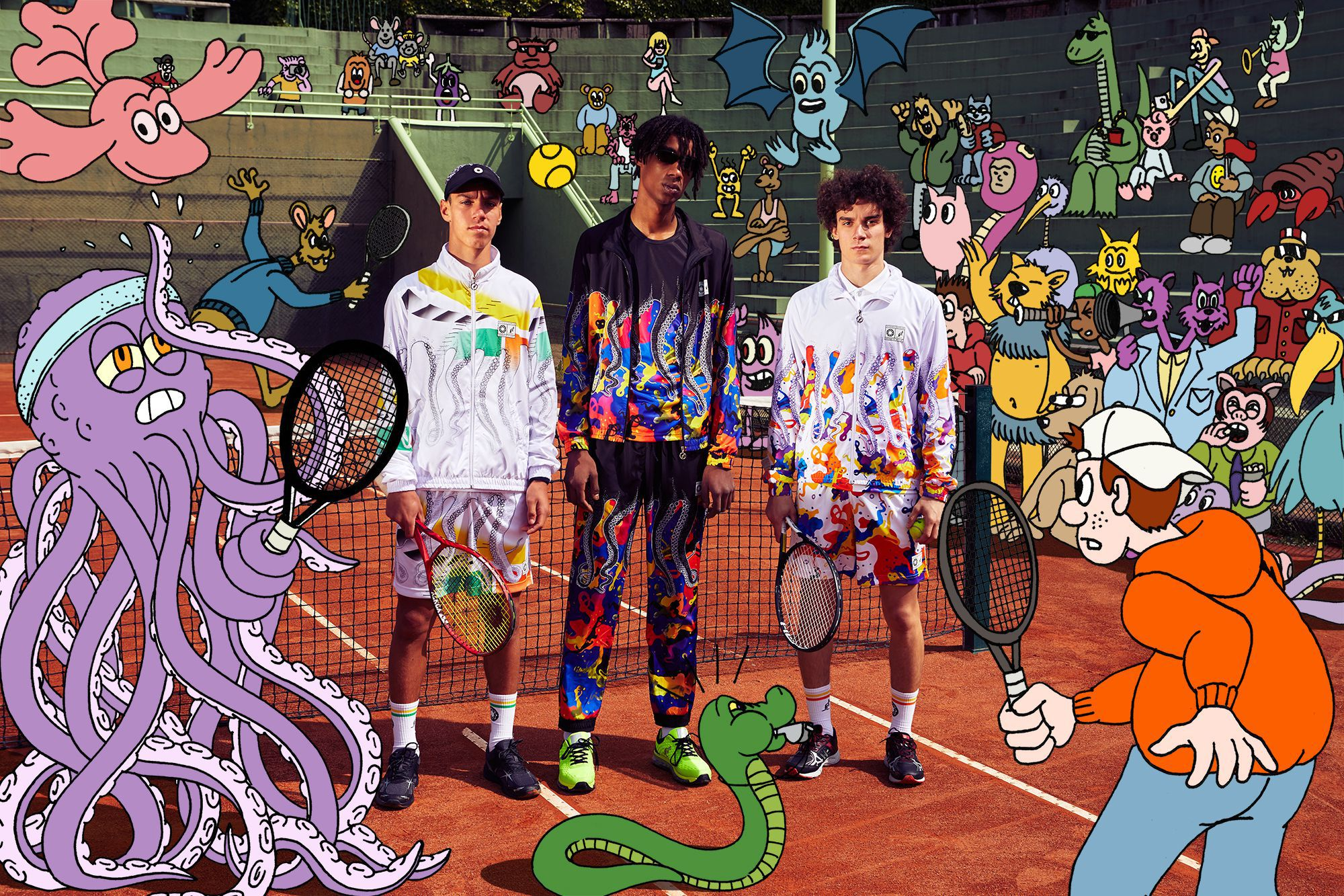 Octopus x Australian: Disorder on the Court! A Collaboration to show in a tennis match and at the Tennis Club